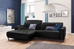 KAWOLA Sofa YORK Leder Life-line schwarz Rec links Fuß Metall schwarz mit Sitztiefenverstellung