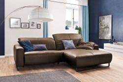 KAWOLA Sofa YORK Leder Life-line nougat Rec rechts Fuß Metall schwarz mit Sitztiefenverstellung
