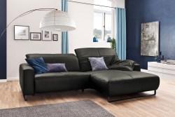 KAWOLA Sofa YORK Leder Life-line fango Rec rechts Fuß Metall schwarz mit Sitztiefenverstellung