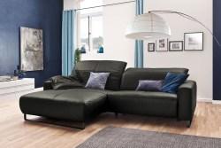 KAWOLA Sofa YORK Leder Life-line fango Rec links Fuß Metall schwarz mit Sitztiefenverstellung
