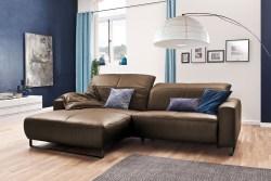 KAWOLA Sofa YORK Leder Life-line nougat Recamiere links Fuß Metall schwarz