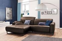 KAWOLA Sofa YORK Leder Life-line praline Recamiere links Fuß Metall schwarz
