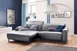 KAWOLA Sofa YORK Leder Life-line light-grey Recamiere links Fuß Metall schwarz