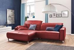 KAWOLA Sofa YORK Leder Life-line rot Rec links Fuß Metall Chrom matt mit Sitztiefenverstellung