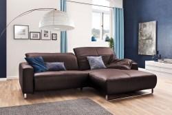 KAWOLA Sofa YORK Leder Life-line bordeaux Rec rechts Fuß Metall Chrom matt mit Sitztiefenverstellung