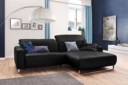 KAWOLA Sofa YORK Leder Life-line schwarz Rec rechts Fuß Metall Chrom matt mit Sitztiefenverstellung