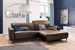 KAWOLA Sofa YORK Leder Life-line nougat Recamiere rechts Fuß Metall Chrom matt