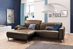 KAWOLA Sofa YORK Leder Life-line nougat Rec links Fuß Metall Chrom matt