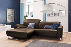 KAWOLA Sofa YORK Leder Life-line hasel Rec links Fuß Metall Chrom matt mit Sitztiefenverstellung