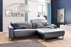 KAWOLA Sofa YORK Leder Life-line light-grey Recamiere rechts Fuß Metall Chrom matt