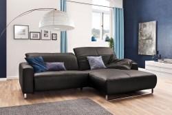 KAWOLA Sofa YORK Leder Life-line grey Rec rechts Fuß Metall Chrom matt mit Sitztiefenverstellung
