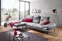 KAWOLA Sofa KIMI 3-Sitzer Ecksofa Stoff Recamiere links grau