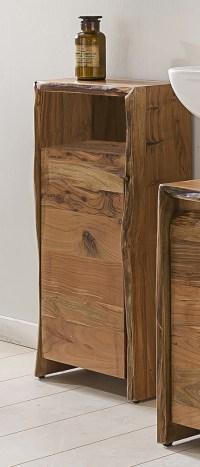 KAWOLA Badezimmer Schrank klein Loft Edge Akazie Massiv-Holz Baumkante B/H/T: 40x80x20cm