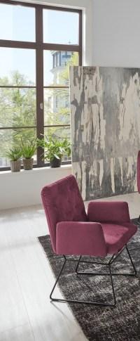 4er Set KAWOLA Esszimmerstuhl CHARME Stuhl velvet purple lila