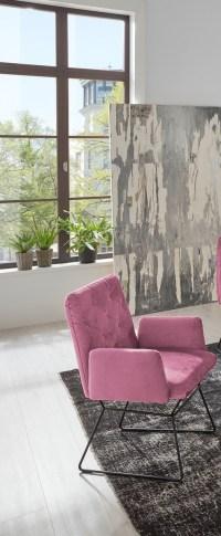 2er Set KAWOLA Esszimmerstuhl CHARME Stuhl velvet rosa