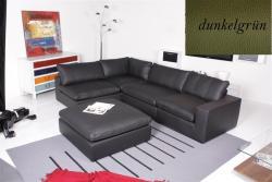 Ecksofa - Sofa Het Anker Leder Toledo dunkelgrün Lehne rechts Lionel