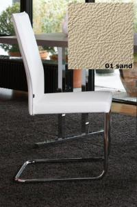 KFF Freischwinger Aura - Gestell Chrom - Leder - Sand 01