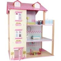 Puppenhaus Rosa Dach 3 Etagen, drehbar