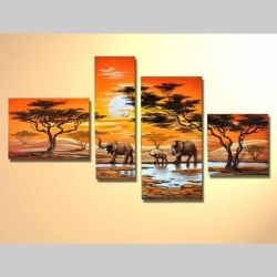 4 Leinwandbilder AFRIKA Elefant (2) 120 x 70cm Handgemalt