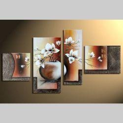 4 Leinwandbilder MAGNOLIA (13) 120 x 70cm Handgemalt