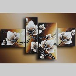 4 Leinwandbilder MAGNOLIA (15) 120 x 70cm Handgemalt