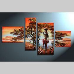 4 Leinwandbilder AFRIKA Frau (1) 120 x 70cm Handgemalt