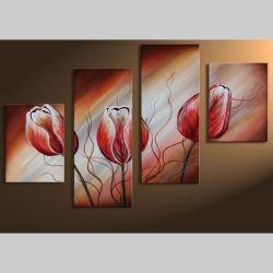 4 Leinwandbilder TULPE (2) 120 x 80cm Handgemalt