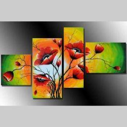 4 Leinwandbilder MOHN (2) 120 x 70cm Handgemalt