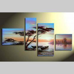 4 Leinwandbilder BOOTE am Ufer (1) 120 x 70cm Handgemalt