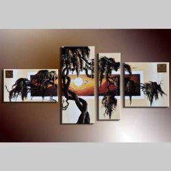 4 Leinwandbilder AFRIKA Baum (1) 140 x 70cm Handgemalt