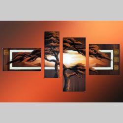 4 Leinwandbilder AFRIKA Baum (8) 140 x 80cm Handgemalt