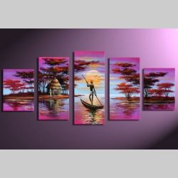 5 Leinwandbilder AFRIKA Mann (4) 150 x 70cm Handgemalt