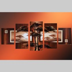 5 Leinwandbilder AFRIKA Baum (6) 150 x 70cm Handgemalt