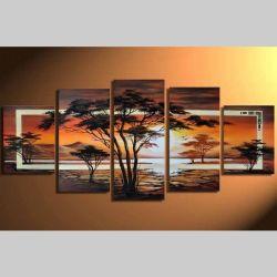 5 Leinwandbilder AFRIKA Baum (8) 150 x 70cm Handgemalt