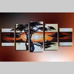 5 Leinwandbilder AFRIKA Baum (10) 150 x 70cm Handgemalt