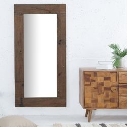 XL Wandspiegel JAVA Dunkelbraun aus recyceltem Teakholz massiv 162cm x 80cm
