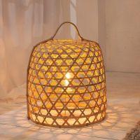 Tischlampe BIDDY Natur aus geflochtenem Bambus handgefertigt 45cm Höhe