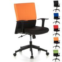 Bürostuhl ISTANBUL Schwarz-Orange aus Stoff