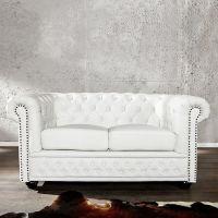 2er Sofa WINCHESTER Weiß im klassisch englischen Chesterfield-Stil