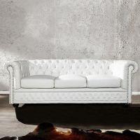 3er Sofa WINCHESTER Weiß im klassisch englischen Chesterfield-Stil