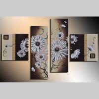 4 Leinwandbilder BLUMEN (2) 100 x 70cm Handgemalt