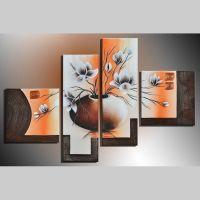 4 Leinwandbilder BLUMEN (4) 100 x 70cm Handgemalt