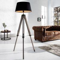 Stehlampe CUP Schwarz mit Dreibein-Gestell Natur aus Kiefernholz 100-145cm Höhe