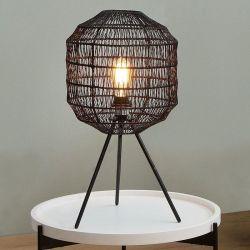 Tischlampe BLACKBIRD Schwarz aus geflochtenem Papier handgefertigt 57cm Höhe