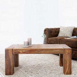 Couchtisch SALEM Sheesham massiv Holz gewachst 100cm x 50cm