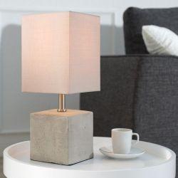 Tischlampe URBANO Beige & Grau mit Fußsockel aus Feinbeton 35cm Höhe