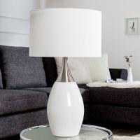 Tischlampe ANTJA Weiß-Silber mit Leinenschirm 60cm Höhe