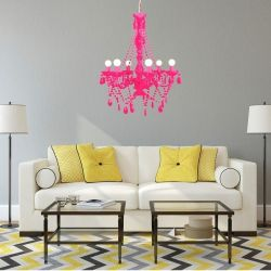 Kronleuchter CHANTAL Neon-Pink 6-armig 55cm Ø
