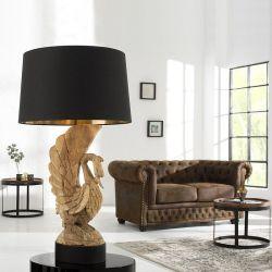 XL Handgeschnitzte Tischlampe Schwan ODILE Schwarz-Gold aus Akazie Massivholz 90cm Höhe