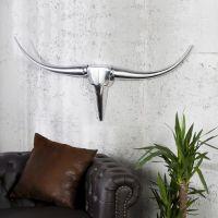 Deko Stierkopf Schädel ARIZONA Silber aus poliertem Aluminium 100cm Länge